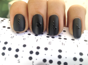 Nail Art using FACES Gothic Matte and ESSIE Good To Go Top Coat